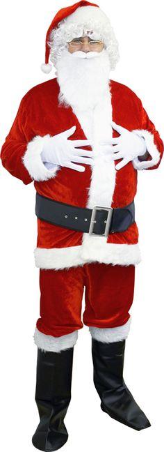 Premium Père Noël Costume Manteau 4 Pièces Rouge Père Noël Costume M-XXXXL