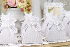 Beautiful White Wedding Dress Boxes for a Bridal Shower using your Silhouette