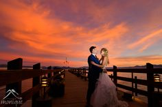 Gar Woods wedding photography with the bride and groom on the pier with a spectacular sunset Santa Cruz Mountains, Lake Tahoe Weddings, Fine Art Wedding Photography, Wedding In The Woods, Wedding Moments, Photojournalism, Unique Weddings, Groom, Bride