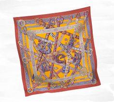"""e Songe de la Licorne Silk twill scarf, hand rolled, 36"""" x 36"""" Ref. H002722S 01"""