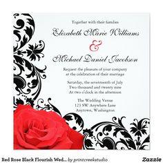 Red Rose Black Flourish Wedding Invitations Beautiful gothic rose themed wedding invitation. Featuring a classic red rose with elegant flourish swirls on a black background. Flourishes by © Mujka Design