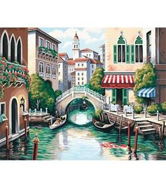 """Paint By Number Kit 20""""X16"""" - Scenic Canal"""
