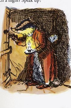 Mr Badger opens his door. The Wind in the Willows. Bodleian Libraries | E H Shepard's Drawings