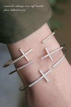 Swarovski Sideways Cross Bracelet Cuff in Rose by kellinsilver Jewelry Logo, Cross Jewelry, High Jewelry, Silver Jewelry, Jewelry Bracelets, Gemstone Jewelry, Cross Bracelets, Diamond Bracelets, Ankle Bracelets
