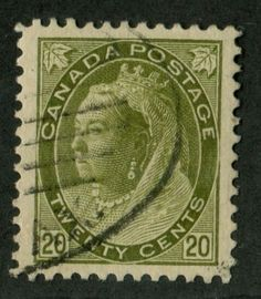 Canada-84-20c-Olive-Green-1898-1902-Numeral-Issue-XF-92-Used-540-000-Issued