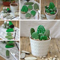 Tuto - DIY Faire des cactus avec des galets Tutorial - DIY Making cacti with pebbles Deco Cactus, Cactus Flower, Mini Cactus, Diy Crafts To Sell, Diy Crafts For Kids, Cheetah Decorations, Decoration Cactus, Cactus Craft, Painted Plant Pots