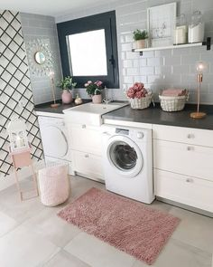 "Check out our web site for even more relevant information on ""laundry room storage diy small"". It is actually an excellent place to find out more. Home Design, Interior Design Career, Interior Decorating Styles, Decorating Your Home, Diy Home Decor, Pink Laundry Rooms, Laundry Room Storage, Laundry Room Design, Simple House"