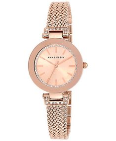 Anne Klein Women's Rose Gold-Tone Stainless Steel Mesh Bracelet Watch 30mm AK/1906RGRG