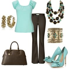 Gold, Brown & Blue, created by jklmnodavis on Polyvore