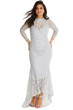ea3d0bca3a9 White Plus Size High Neck Lace Fishtail Maxi Dress. Fête De MariageRobe  CouleurRobe Longue Grande TailleCol ...