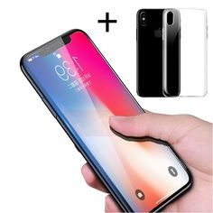 """Bakeeyâ""""¢ 4D Curved Edge Tempered Glass Film With Transparent TPU Case for iPhone X"""