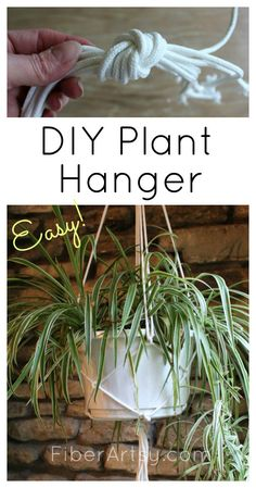 DIY Plant Hanger, a quick, easy, and inexpensive way to make a simple macrame plant hanger. Fun DIY home project. A free  FiberArtsy.com tutorial