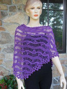 Deep Purple Hairpin Lace Crochet Shawl by CasadeAngelaCrochet Hairpin Lace Crochet, Hairpin Lace Patterns, Crochet Diy, Crochet Girls, Shawl Patterns, Tunisian Crochet, Crochet Shawl, Crochet Patterns, Crochet Edgings