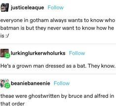 Stupid Funny Memes, Funny Quotes, Hilarious, Batman Universe, Dc Universe, Nerd, Dc Memes, Batman Family, Detective Comics