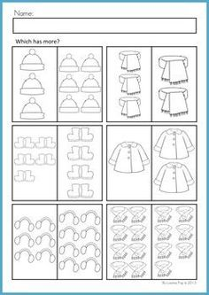 Math Worksheets & Activities - Winter (Beginning Skills). A page from the unit: Which has more hangisi daha fazla? Winter Crafts For Kids, Winter Kids, Preschool Math, Kindergarten Activities, Preschool Ideas, Lesson Plan Pdf, Maila, School Worksheets, Math Numbers