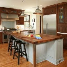 New kitchen island butcher block top wooden countertops ideas Wooden Countertops, Outdoor Kitchen Countertops, Butcher Block Countertops, Kitchen Tiles, New Kitchen, Wood Cabinets, Marble Counters, Dark Cabinets, Wooden Kitchen