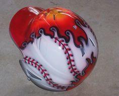 Airbrushed Baseball Batting Helmet FLAMING by tonysairbrush, $69.95
