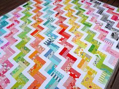 Zig Zag Rail Fence Quilt Pattern - you have to love the bright colors!