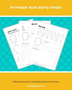 Printable Kids Diary Pages. Keep the kids busy and have writing practice! Kaizen Hacks for kids!