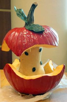 Last-minute pumpkin carving ideas. Gourd = apple core. Now these are creative!
