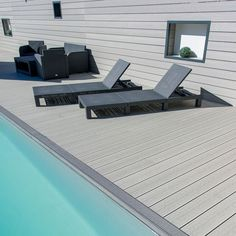 plastic wood decking boards tongue & groove, plastic wood decking expansion in Finland im garten wpc Building A Deck, Decks Around Pools, Wood Pool Deck, Plastic Flooring, Outdoor Wood, In Ground Pools, Swimming Pools, Plastic Wood Decking, Outdoor Flooring