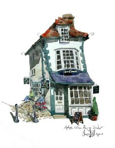 My watercolour painting of The Crooked House of Windsor which was built in 1592. Great architecture here.