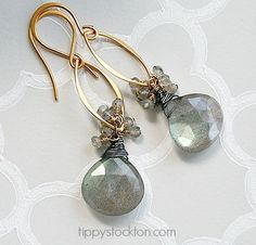 Labradorite Drop Earrings with Gold Accents - The Sheldon Earrings-earrings, dangle, labradorite, clusters, 14kt. gold fill, mixed metals, fall collection, tippy stockton
