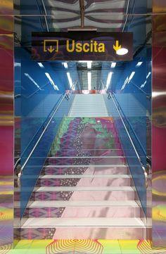 Stazione Università della Linea 1 Metropolitana, Napoli Stairway Art, Stairs To Heaven, Italian Life, Pompeii, Contemporary Interior, Stairways, Naples, Italy Travel, Architecture Art