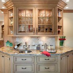 Decor & Tips: Wet Bar Cabinet And Tile Backsplash With Kitchen ...
