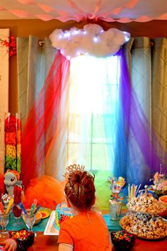 tulle rainbow with poly-fill cloud - For my Rainbow Dash fanatic.