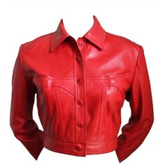 Preowned 1980's Azzedine Alaia Red Leather Jacket With Sweetheart... ($950) ❤ liked on Polyvore featuring outerwear, jackets, red, coats, 1980s leather jacket, genuine leather jacket, 80s jackets, alaïa and 80s leather jacket