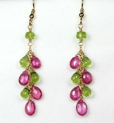 Items similar to Pink Sapphire & Peridot Cluster Earrings, gold-filled *September, August Birthstone* on Etsy Cluster Earrings, Wire Earrings, Drop Earrings, Chandelier Earrings, Gold Jewelry, Beaded Jewelry, Jewelery, Handmade Jewelry, Pink Sapphire