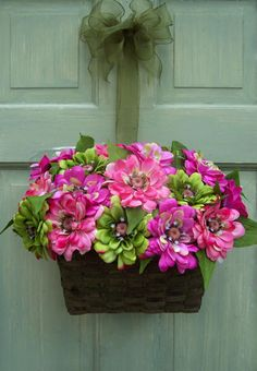 Basket with Pastel Zinnias - Creative Decorations by Ridgewood Designs