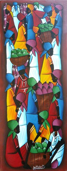 "Haitian Art Canvas Painting - Haitian Market Scene - Art of Haiti - Ethnic Art-  Primative Caribbean Art, Haitian Art - 12"" x 30"" - 270 by TropicAccents on Etsy"
