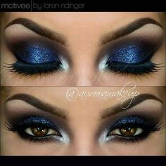 Navy Blue Glittery Eyes For New Year Eve Makeup
