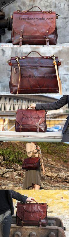 Handmade messenger bag briefcase satchel purse leather crossbody