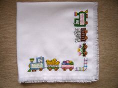 Easter Eggspress Cross Stitched Basket Liner by TheGardenStitcher