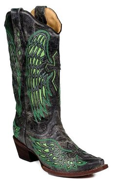 Green Winged Cross boots by Corral $250. These are awesome. Not your colors @Jozelle Fordyce, but thought they were just cute.. haha