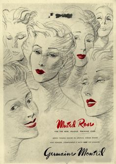 """Muted Rose"" 1944 vintage lipstick ad for Germaine Monteil makeup"
