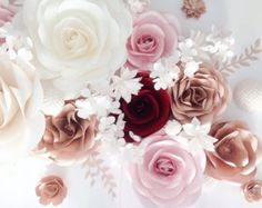 Items similar to Large Paper Flowers in White and Cream, Wedding Paper Flower Backdrop, Bridal Shower, Nursery, Office & Bedroom Decor, Removable Wall Art on Etsy