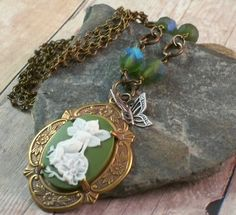 Green Faerie Cameo Necklace featuring a small by simplywillow, $40.00