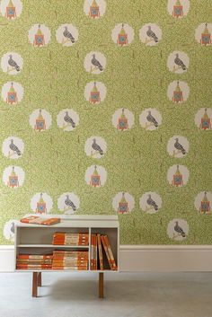 Edward Bawden's 1927 wallpaper design 'Pigeon and Clock Tower', now reissued by St Jude's Fabrics and Wallpapers