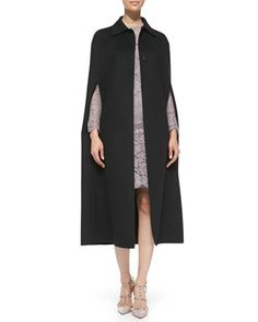 Long Butterfly-Applique Cape & Long-Sleeve Lace Sheath Dress by Valentino at Neiman Marcus.