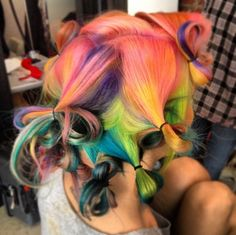Soft Brights #Hair #Curls #Rainbow