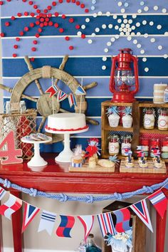 """Stylish 4th of July party ideas inspired by nautical elements like rope, anchors, & ship wheels + a fantastic DIY cork """"Fireworks"""" backdrop!"""