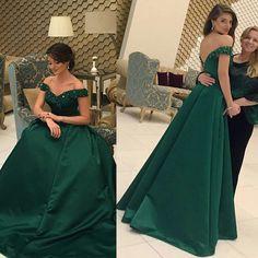 2017 Green Evening Dress Handmade Off Shoulder A-line