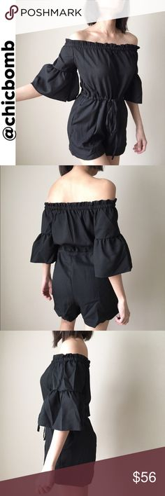 Well made top quality off shoulder romper Top quality and well made off the shoulder , bare shoulder romper. With pockets. NON SHEER. High grade fabric. With elastane drawstring waist tie. Flare peplum sleeve. Size M the fitting fits size s and M. CHICBOMB Pants Jumpsuits & Rompers