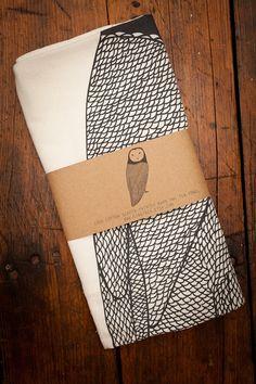 Screen Printed Barn Owl Tea Towels by Gingiber for BourbonandBoots.com