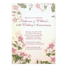 Elegant Pink Flowers Floral Wedding Anniversary