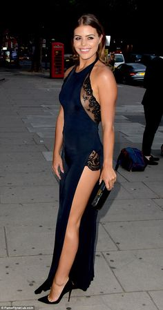 TOWIE's Chloe Lewis puts on a VERY leggy display in navy lace jumpsuit with daring sky-high splits as she parties with chic co-star Lydia Bright at Revlon ball | Daily Mail Online